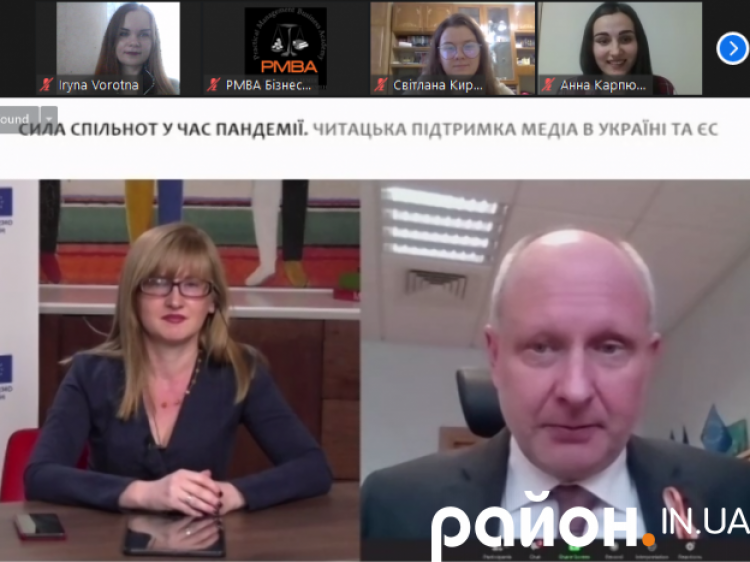 Керівниця інноваційних проєктів CID Media Group Наталія Пахайчук та голова Представництва ЄС в Україні Матті Маасікас.